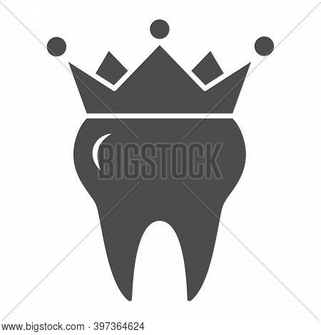 Crown On Tooth Solid Icon, International Dentist Day Concept, Teeth Health Sign On White Background,