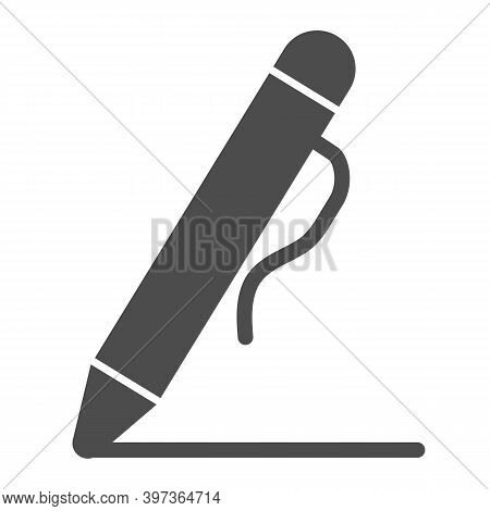 Pen Solid Icon, School Concept, Pen Drawing Line Sign On White Background, Mechanical Pencil Icon In