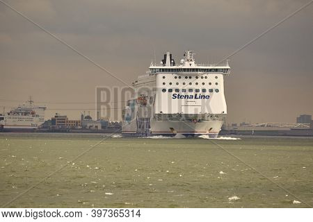 ROTTERDAM, THE NETHERLANDS - CIRCA 2017: Ferry of Stena Line leaving Rotterdam, Hoek Van Holland terminal. Heading out at the North Sea to the United Kingdom