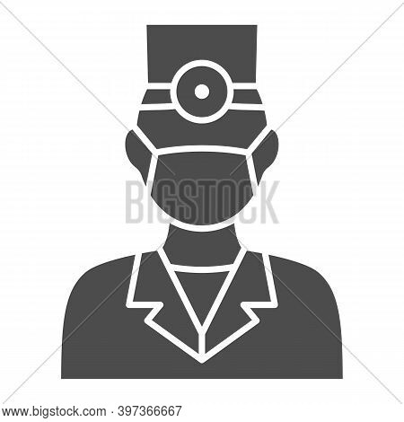 Dentist Solid Icon, International Dentist Day Concept, Doctor In Face Mask Sign On White Background,