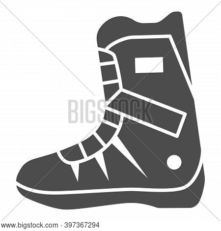 Snowboarder Boot Solid Icon, World Snowboard Day Concept, Sport Shoes Sign On White Background, Boot