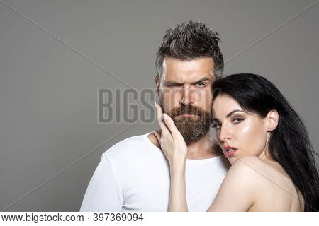 Sexy Couple. Beautiful Sexy Lovers Portrait. Model Man With His Girlfriend Posing Together. Passion.