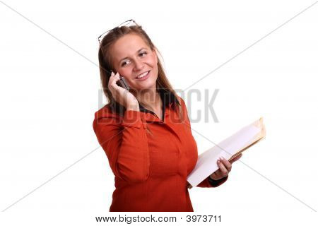 Young Business Woman Talking On The Cell Phone