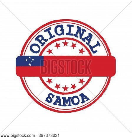 Vector Stamp For Original Logo With Text Samoa And Tying In The Middle With Nation Flag. Grunge Rubb