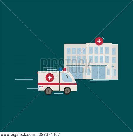An Ambulance Is Rushing To The Hospital. Vector Illustration Of An Ambulance. Cartoon Medical Evacua