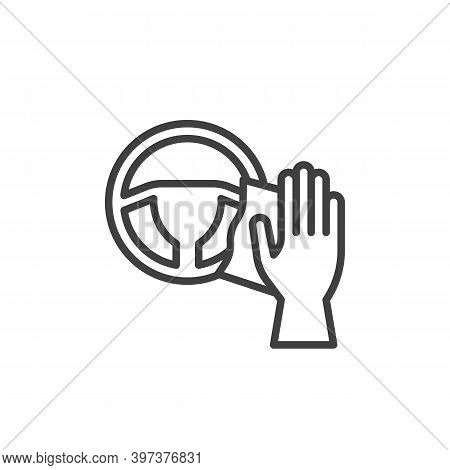 Steering Wheel Cleaning Line Icon. Linear Style Sign For Mobile Concept And Web Design. Disinfecting