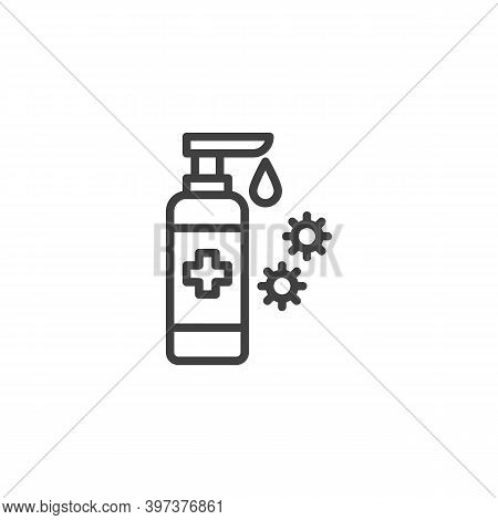 Coronavirus Sanitizer Gel Line Icon. Linear Style Sign For Mobile Concept And Web Design. Antibacter
