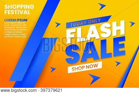 Flash Sale Banner Template Design With Geometric Shape Composition And Flash Sale Word In Blue And O