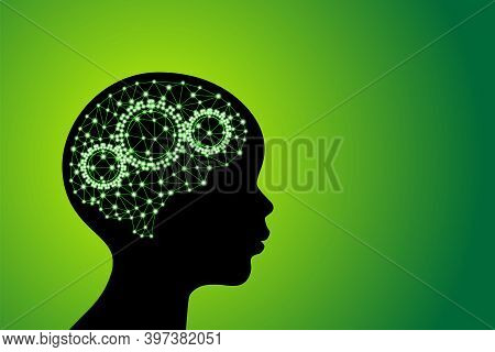 3d Digital Green Glowing Particles Line And Dot Polygonal Plexus Children's Brain With Gears, Go Gre