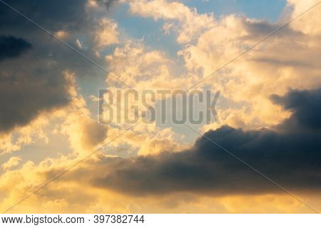 Glowing Clouds On Evening Sky. Beautiful Nature Background