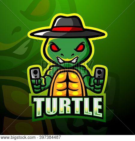 Vector Illustration Of Shooter Turtle Mascot Esport Logo Design