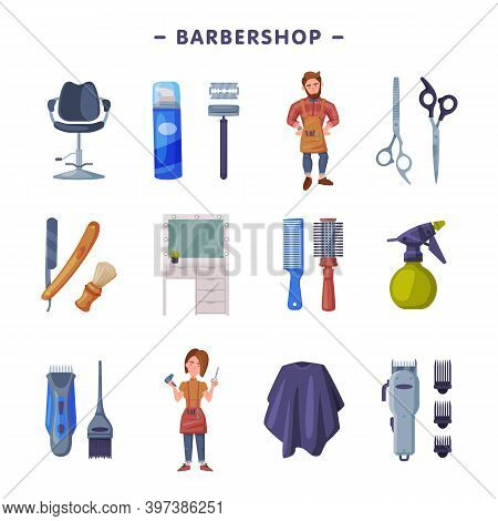 Barbershop Set, Professional Hairdressers And Professional Tools, Hairdressing Salon, Hair Studio Se