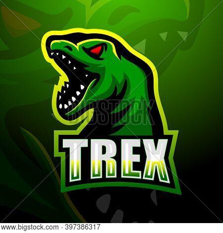 Vector Illustration Of Dinosaur T-rex Mascot Logo Design