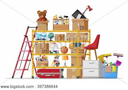 Storeroom Or House Cellar Isolated On White. Modern Storage Room. Metal Shelves With Household Items