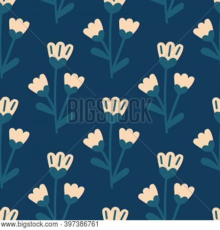Simple Floral Pattern On A Blue Background For Printing On Fabric, Cover, Envelope, Wrapping Paper O