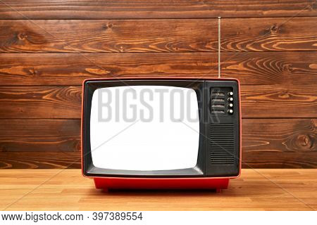 Small old analogue TV set, blank white screen