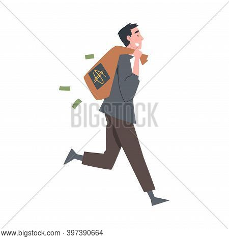 Rich Businessman Running With Bag Full Of Money, Wealthy Person, Millionaire Character, Financial Su