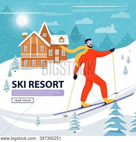 Ski Resort Banner Illustration With Skier, Wooden Hotel And Snowy Mountains. Happy Man Skiing In The