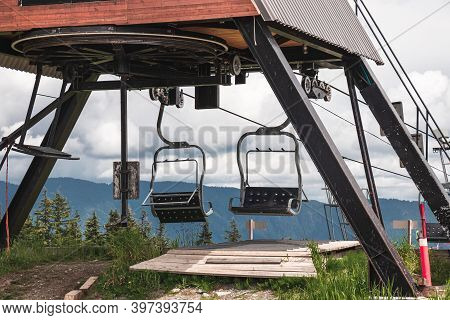 Older Double Chairlifts At Seymour Mountain During The Summer Season