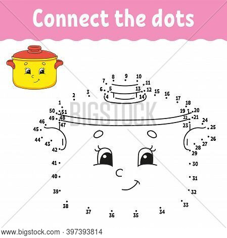 Dot To Dot Game. Draw A Line. For Kids. Activity Worksheet. Coloring Book. With Answer. Cartoon Char