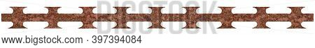 Rusty Barbed Razor Wire Tape Panorama Corroded Macro Closeup, Seamless Panoramic Rusted Corroding Ru