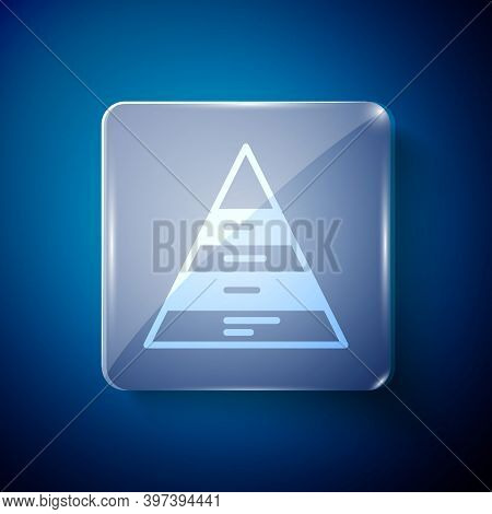 White Business Pyramid Chart Infographics Icon Isolated On Blue Background. Pyramidal Stages Graph E