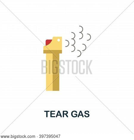 Tear Gas Flat Icon. Simple Element From Protest Collection. Creative Tear Gas Icon For Web Design, T