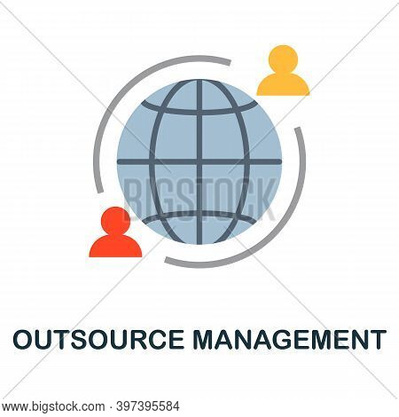 Outsource Management Flat Icon From Reputation Management Collection. Simple Line Element Outsource