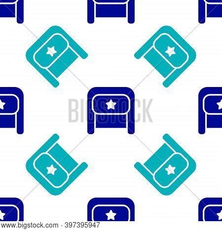 Blue Ushanka Icon Isolated Seamless Pattern On White Background. Russian Fur Winter Hat Ushanka With