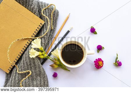 Notebook Planner For Business Work, Hot Coffee,flowers And Knitting Wool Scarf Of Lifestyle Woman Ar