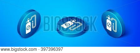 Isometric Pressure Sprayer For Extermination Of Insects Icon Isolated On Blue Background. Pest Contr