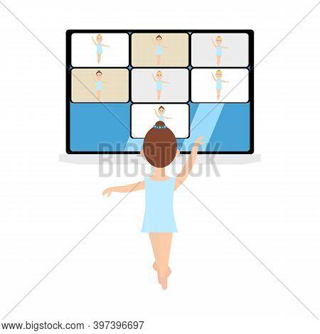 Ballet Lesson, Distant Education Online. Kids Ballerinas At Distant Dance Course Via Internet Connec
