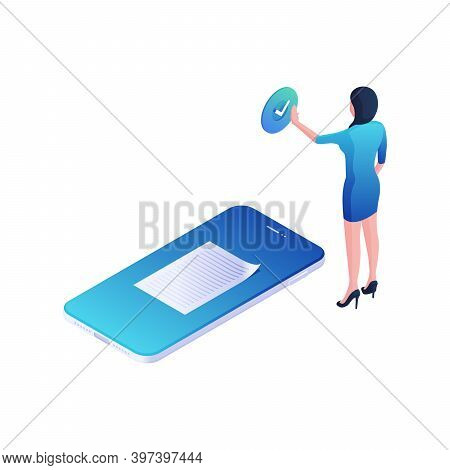 Online Document Confirmation Isometric Illustration. Female Character Presses Blue Agree Button With