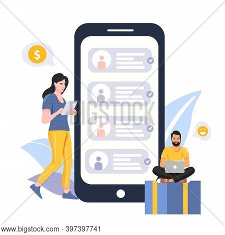 Refer A Friend Concept. People Share Info About Referral Program. Woman With Tablet. Man With Laptop