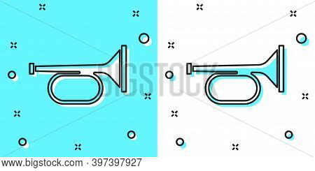 Black Line Trumpet Icon Isolated On Green And White Background. Musical Instrument Trumpet. Random D