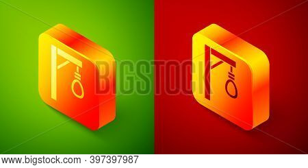 Isometric Gallows Rope Loop Hanging Icon Isolated On Green And Red Background. Rope Tied Into Noose.
