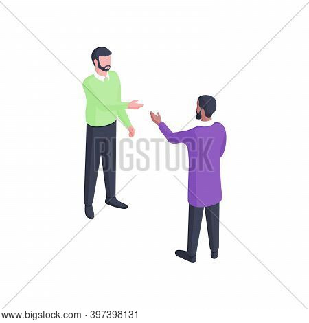 People Have Discussion Isometric Illustration. Two Male Characters In Green And Purple Clothes Engag