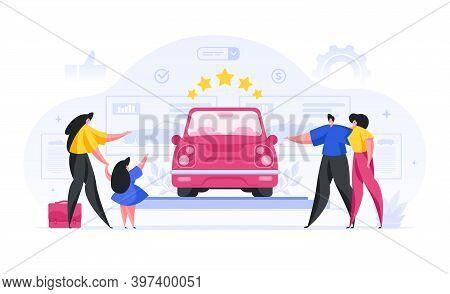 People Choosing Prestigious Car In Showroom Cartoon Concept. Man And Woman Admire Beautiful Red Conv