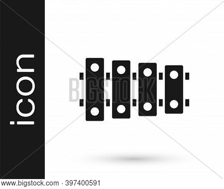 Black Xylophone - Musical Instrument With Thirteen Wooden Bars And Two Percussion Mallets Icon Isola