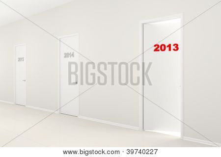 New Year's Illustration - Corridor With Doors