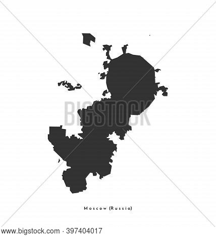 Vector Isolated Illustration With Simplified Dark Grey Shape Of Moscow Map (russian Capital) Accordi