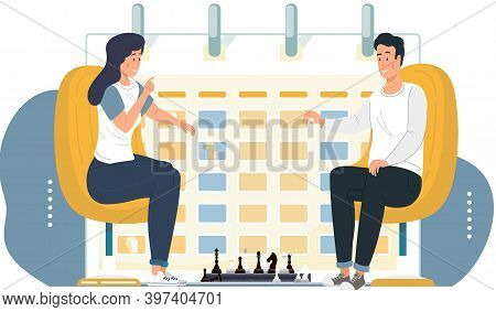 Couple Playing Chess. Young Peope Sitting At The Table With Chessboard. Chess Tournament Between Two