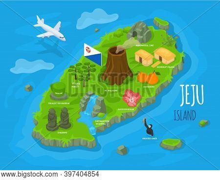 Isometric Jeju Island, South Korea. Jeju-do Map With Jeju Attractions Hallasan, Dol Hareubang Or Har