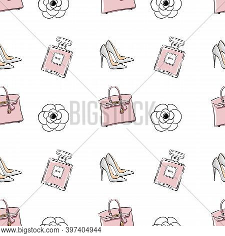 Vector Hand Drawing Drawing Fashion Sketch Shoes, Perfume, Bag, Flowers, Beads. Trend Graphic Contra
