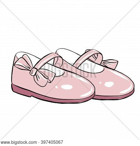 Cute Children's Shoes For Girls With Pink Bows, First Baby Shoes Or Baby Steps.