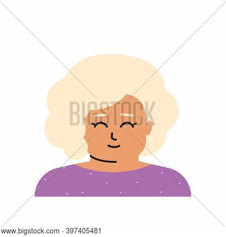 Vector Flat Isolated Illustration With Portrait Of Cartoon Character. Avatar Of Caucasian Little Gir