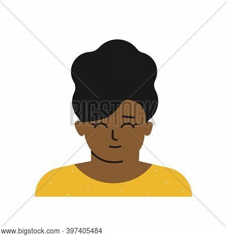 Vector Flat Isolated Illustration With Portrait Of Cartoon Character. Avatar Of Little African Ameri