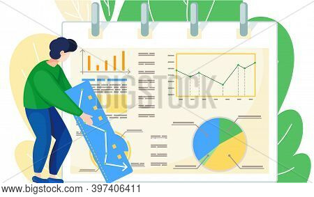Businessman Standing Near Report With Graphs And Charts. Speaker Leads Workshop Explains Statistics.