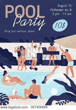 Invitation Template Of Pool Party With Place For Text Vector Flat Illustration. Promo Poster Of Open