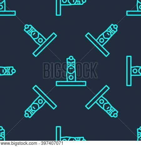 Green Line Slavic Pagan Idol Icon Isolated Seamless Pattern On Blue Background. Antique Ritual Woode